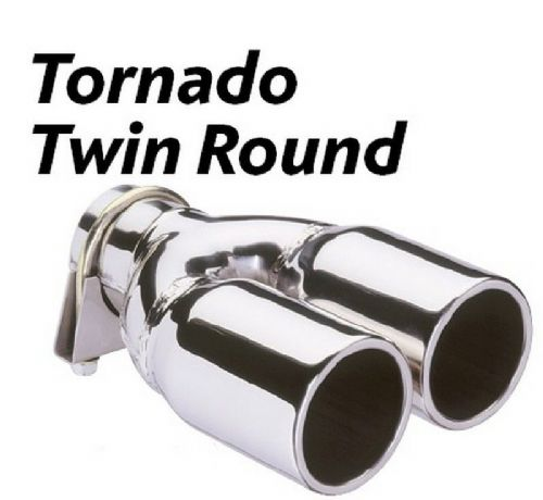 Tornado Twin Round Exhaust tip - Polished Stainless Steel- top quality 48MM 63MM